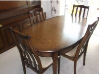 Dining room suite table & chairs plus display unit. BARGAIN PRICE