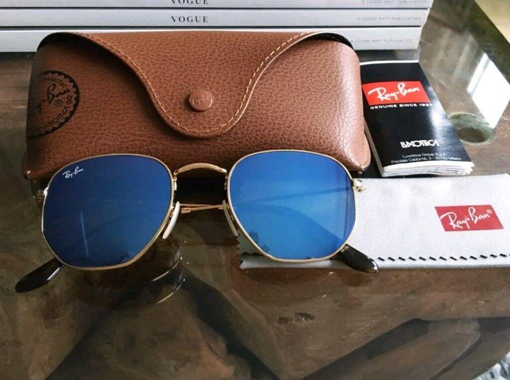 3b81ba1ede promo code oakley sunglasses 5920d b0045  norway rayban rb3845n hexagonal  blue flash sunglasses. 245df 31c8a