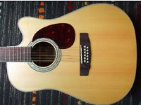 Cort MR710F-12 Guitar in Semi-Gloss Natural Wood 12 string electric acoustic