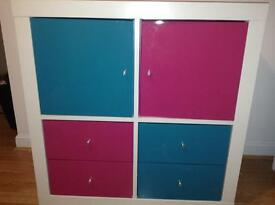 PINK AND TURQUOISE/GREEN DRAWER AND CUPBOARD SET