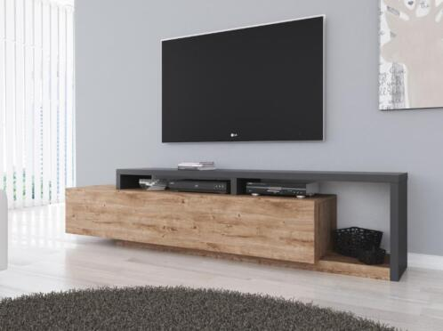 Tv Tafel Kast.Tv Meubel Bello Eiken Antraciet Klapdeur Tv Kast