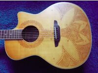 Luna acoustic electric guitar with henna tattoo design