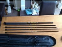Sensas Mini fast tele whip system 6 piece set + 4 Drennan tuff eye pole floats (Bnwt)