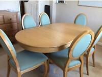 Dining Table and 6 chairs, extendable, white solid oak