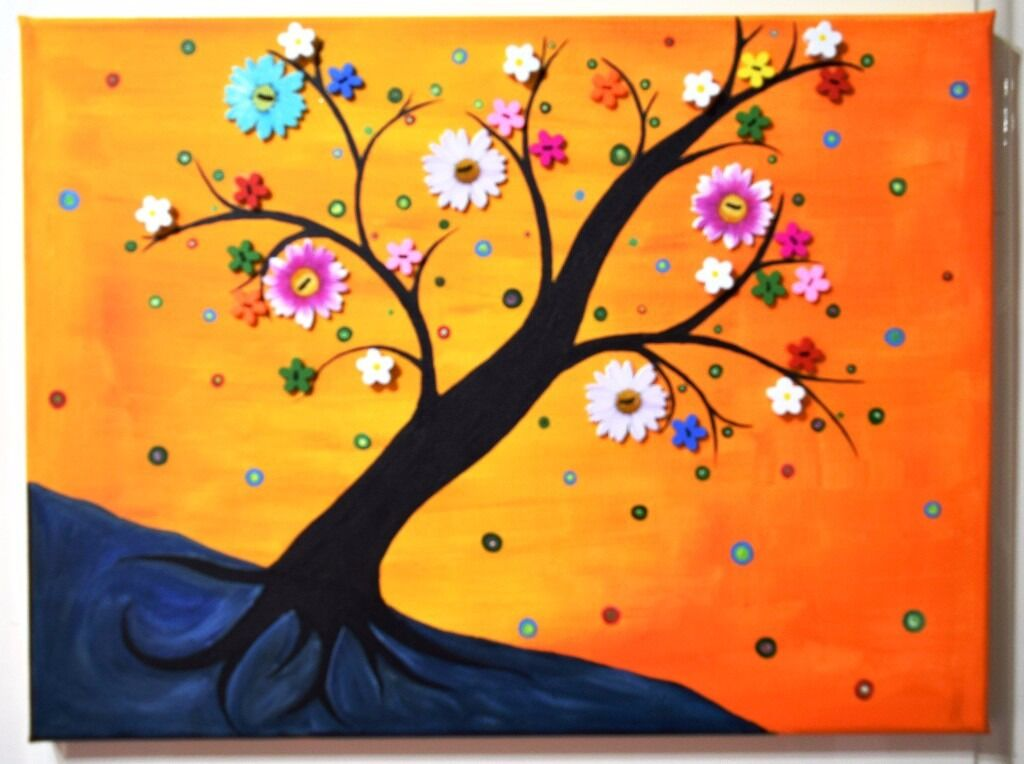 Beautiful Button art flower blossoms canvas acrylic painting ...