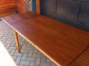 Danish Mid Century Modern Teak Dining Table Extendable with 2 Leaves / Draw Leaf  or Pocket Leaf -REFINISHED. No chairs.