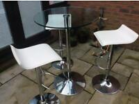 Glass round bar table and 3 chairs