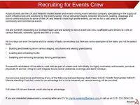 RECRUITMENT OPEN DAY, SATURDAY 08 APRIL - EVENT SITE CREW/ SCAFFOLDERS/ DRIVERS
