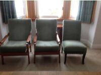 3 x retro teak chairs