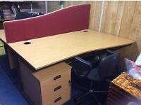 Two Oak Rectangle Desks, Matching Filing Cabinets & Divider