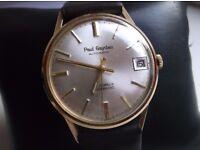 mens vintage 1967 heavy case solid 9 carat gold watch paul gaydau high grade automatic 25 jewel