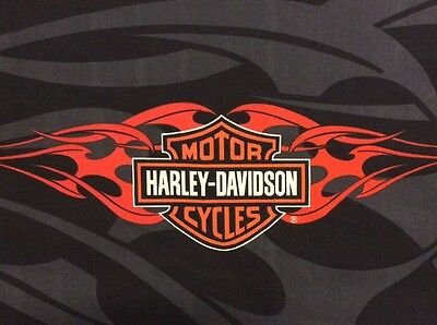 Harley Davidson Logo fabric Panel Orange Flames Black/Gray Shield 17