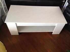 Storage white coffee table