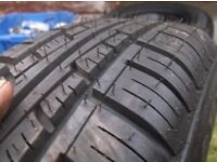 ONE BRAND NEW 165 X 65 X 14 TYRE,NEVER USED,8MM +,ITS NEW,ON 4 STUD BLACK STEEL WHEEL, £15