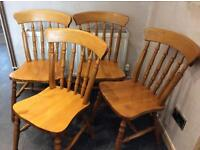 4x Farmhouse style dining chairs antique colour set of 4 £80 or £25 each chair