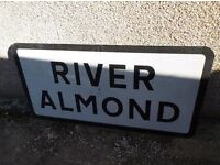 Large old metal River Almond sign
