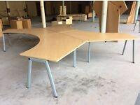Four Beech Angled Desk Pod Set