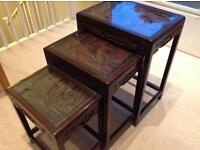Antique Oriental Chinese Nest Of Three Tables Camphor Wood