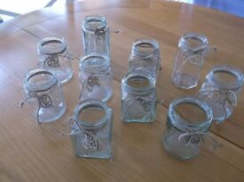 10 Decorated Glass Jars, Wedding, Party, For Tealights or Flowers