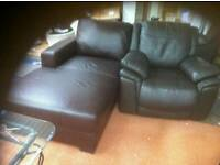 Brown leather part of sofa chaise lounge as new