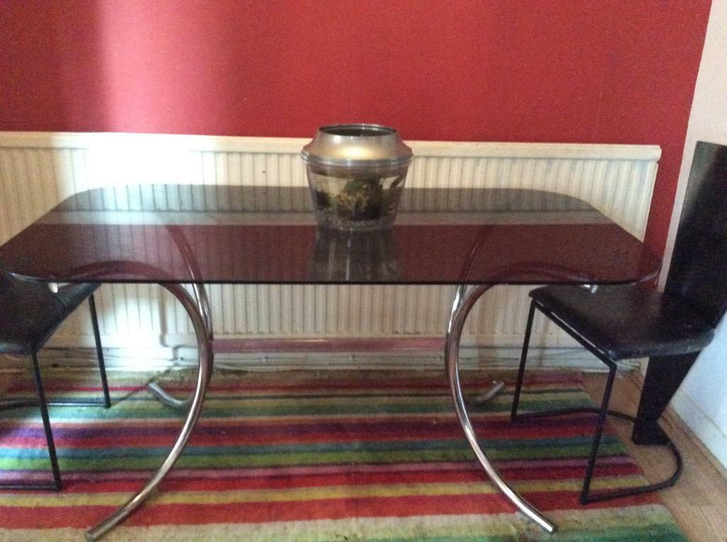 1970 39 s retro smoked glass dining table and 4 chairs in for John e coyle dining room furniture