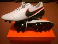 Nike Tiempo Rio Football Boots White Leather Mens Size 10