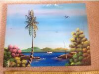 Canvas painting of coastal scene 43.5cm x 34 cm