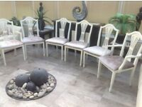 *Six beautiful dining chairs* off white colour with mink velvet seats. Refurbed.