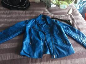 Red herring women's blue leather jacket size 10 unworn