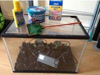 Fish tank aquarium with filter/food/net/ornament/shipwreck/salt/aquasafe