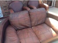 Italian leather sofa and 2 chairs
