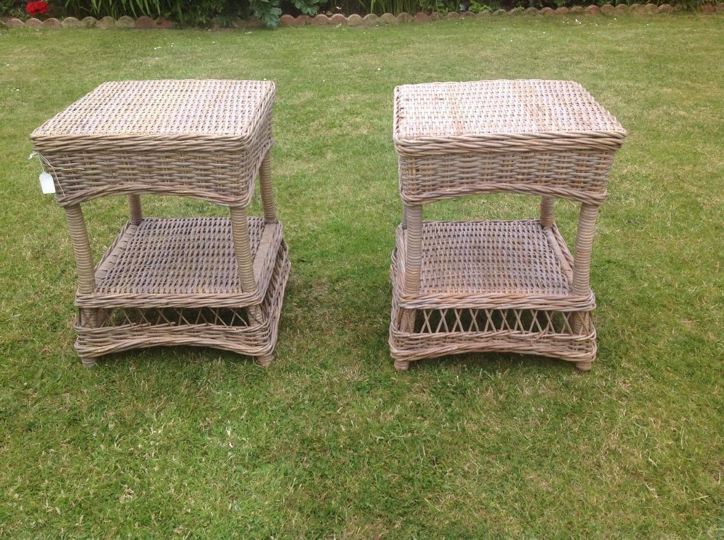 Two wicker tables ideal for indoor or outdoor used new for Outdoor furniture gumtree