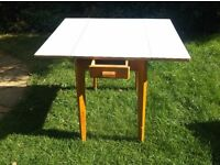 SHABBY CHIC ORIGINAL 1950'S KITCHEN DINING TABLE DROP LEAF BLUE FORMICA & PINE SINGLE DRAWER PROP