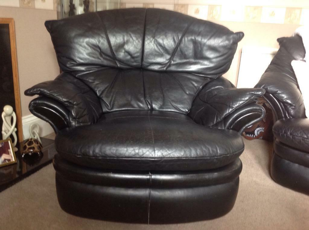 Black Leather Recliner Armchair In Ammanford
