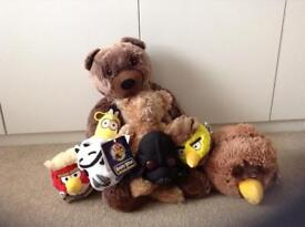 A collection of bears and angry bird starwars