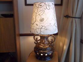 WEST GERMAN COFFEE & CREAM VINTAGE FLOOR LAMP CERAMIC FAT LAVA DOUBLE BULB