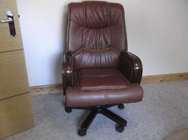 Leather Home Office Chair Swivel Gas Lift Recliner