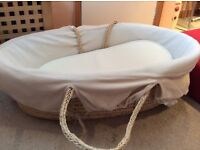 Moses Basket With Rocker Stand, rarely used Mattress & Brand New Sheets