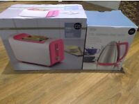 M&S Stainless Steel & Pink Matching Toaster & Kettle (Brand New in Boxes / Marks & Spencer).