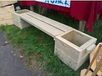 Handmade solid wood bench planter