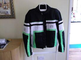 Jacket. Motorcycle Jacket. Buffalo. Black with green and white markings