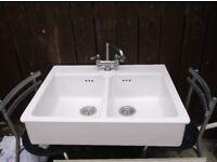 Ceramic Double Kitchen sink, with taps. £75. (Sunderland)