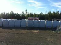 Hemlock, crushed stone, black mulch, wood pellets