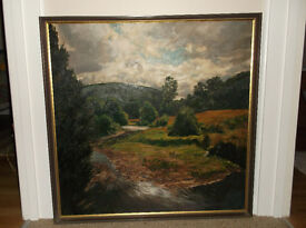Original oil painting by Alison Dickens, early 80s, After the Rain (80cm x 80cm)