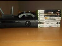 Xbox360 120GB console including wireless network adaptor and 10 games