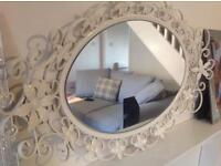 Mirror floral swirl wrought iron decoration