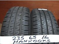 matching pair of 235 65 16 hankooks only done 500 miles £70 pair supp & fitted (open sunday 5pm