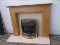 WOODEN FIRE SURROUND, CREAM MARBLE BACK,HEARTH,ELECTRIC FIRE