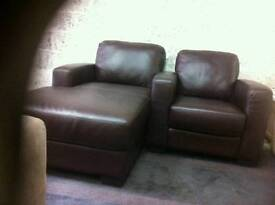 Brown leather lounger and arm chair ex display