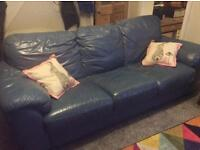 2x 3 seater sofas - leather blue duck egg?